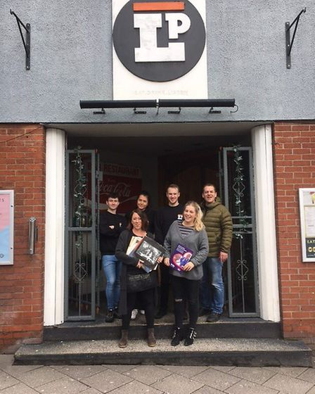 Mike Garling, right, and staff at LPs, left to right, Callum Hubbard, Mollie Adams, Liam Wilson and