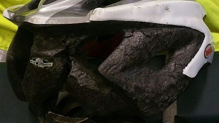 Police say the man's helmet probably saved his life. Picture: ESSEX POLICE