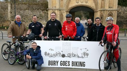 Pictured at the launch of the 'Bury Goes Biking' event are, from left to right, back row, Greg Luton