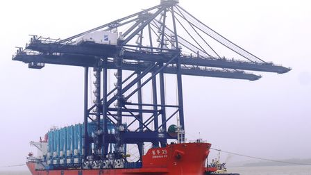 The two new remote-controlled gantry cranes which have been delivered to the Port of Felixstowe.