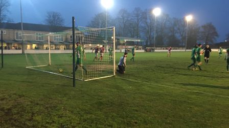 Home keeper Josh Pope drags himself to his feet after netting an own goal to put Heybridge Swifts 1-