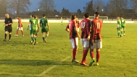 Heybridge Swifts, seen here celebrating their first goal in Tuesday night's 3-0 win at Soham Town Ra