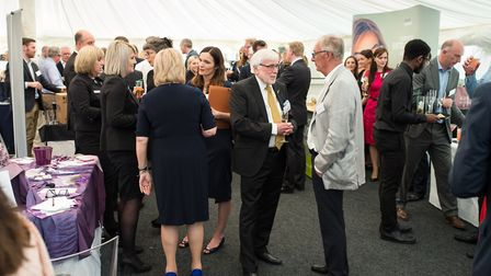 Guests mingle at the Milsoms Business Showcase - centre Trevor Hunaball (Hunnaball's) and Peter Wils