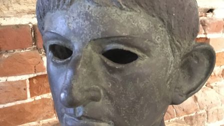 A replica head of the Emperor Claudius which was found in a river bed at Rendham, near Saxmundham, a