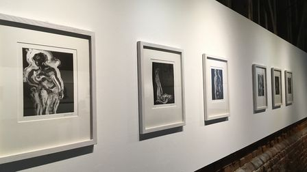 Maggi Hambling's monoprint Figure series on display as part of the Alde Valley Spring Festival. Phot