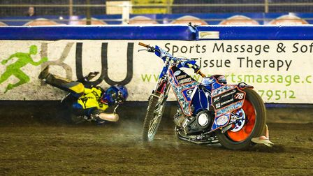 Nico Covatti crashes out of heat 13 at Foxhall against Lakeside. Picture: Steve Waller www.ste