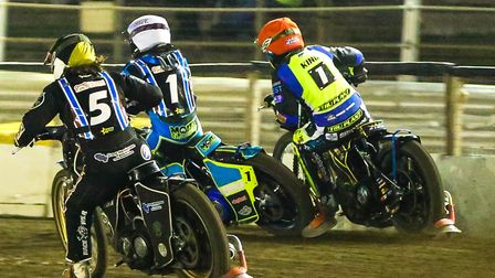 No way through for Danny King (red helmet), on the outside of Nick Morris and Richard Lawson in the