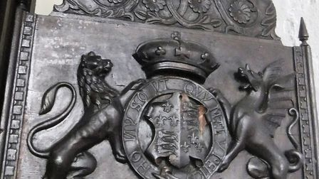 A coat of arms statue stolen from All Saints Church in Middleton. Picture: SUPPLIED BY ESSEX POLICE