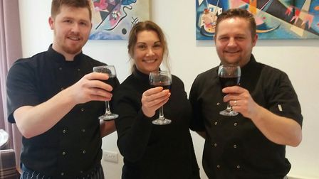 Luke Clark (left) with Lisa and Alastair Smith of All Caterers Ltd