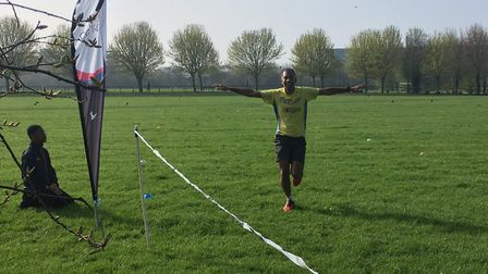 A runner is happy to reach the finish of last Saturday's Beckton parkrun, held in the Borough of New