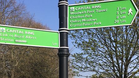 As this signpost suggests, the Beckton parkrun is close to many landmarks in East London. Picture: C