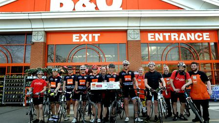 B&Q employees at the Bury St Edmunds B & Q store on the Tour de B&Q, raising funds for housing and