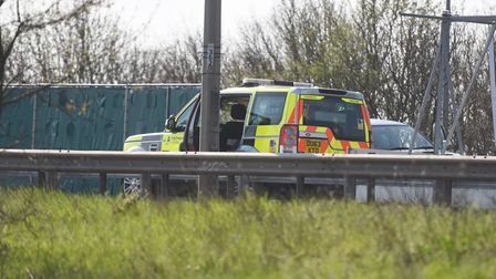 Emergency services have been assisting after the crash. Picture: GREGG BROWN