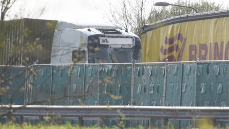 The crash is reported to have involved two lorries and a car. Picture: GREGG BROWN