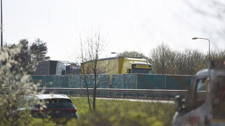 Traffic has been diverted after the A12 was shut in both directions. Picture: GREGG BROWN