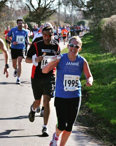 Janine Simpson, from Colchester, is looking to complete her 100th marathon in London on Sunday. ERI