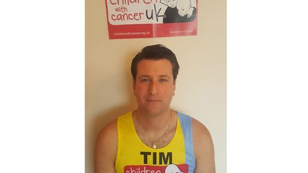 Tim Prime, 45, will take on the 26.2 mile route to raise money for Children with Cancer UK