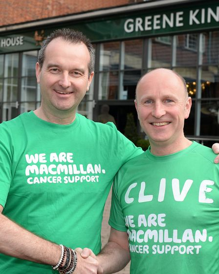 Richard Lewis and Clive Chesser who are running the London Marathon for Macmillan Cancer Support