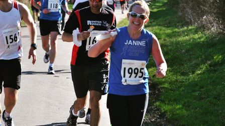 Janine Simpson, from Colchester, completed her 100th marathon in London on Sunday. ERIC SHAW/GREAT B