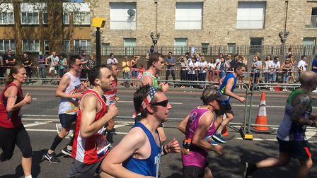 Martin Jarvis (in white) ran the marathon in roughly four and a half hours. Picture: FARREN WEBB