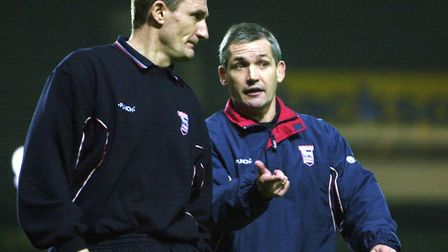 After retiring as a player, Mowbray became part of Burley's staff at Portman Road. Picture: ARCHANT