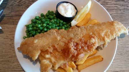 Fish and chips with peas and tartare sauce. Picture: Charlotte Smith-Jarvis