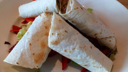 Hoi sin duck wrap with salad. PictureL Charlotte Smith-Jarvis