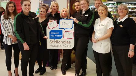 The staff at Marks and Spencer in Bury St Edmunds raised £3,400 for St Nicholas Hospice Care. Pictur