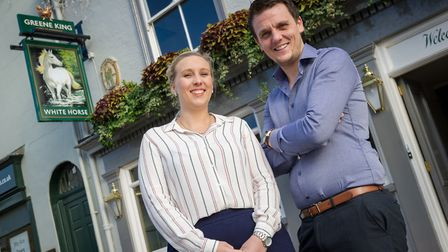 Managers Ashley Coote and Gary Addison of The White Horse Pub Sudbury Suffolk, which will be hosting