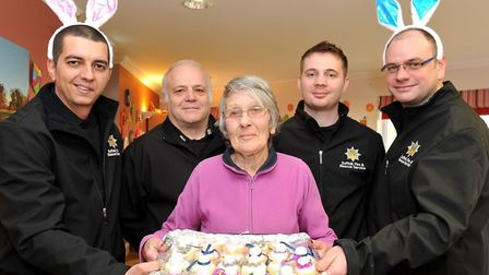 Stowmarket Fire Service with Cedrus House resident Anne Moore. Picture: LUCY TAYLOR PHOTOGRAPHY