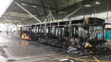 The bus was completely destroyed by the fire. Picture: ESSEX COUNTY FIRE AND RESCUE SERVICE