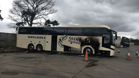 Significant damage was done to the body of the coach. Picture: AMY GIBBONS