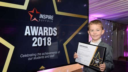 Highly Commended winner at the Inspire Suffolk Awards Oscar Watson with his certificate