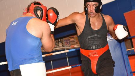 Fabio Wardley, right, sparring with British heavyweight champion Sam Sexton. Picture: ARCHANT