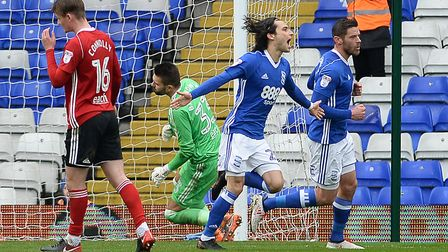 Jota celebrates his goal from the penalty spot against Ipswich Picture Pagepix
