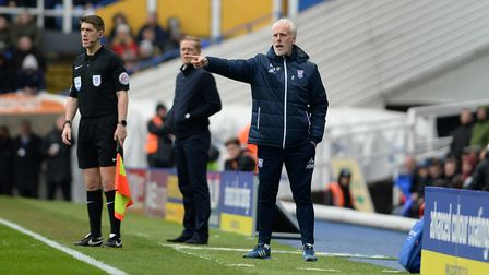 Ipswich Manager Mick McCarthy pointing the way at St. Andrews Picture Pagepix