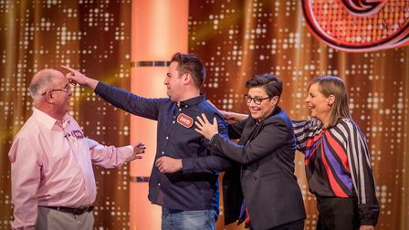 Peter and David Willey with Sue Perkins and Mel Giedroyc on The Generation Game. Picture: BBC/GUY LE