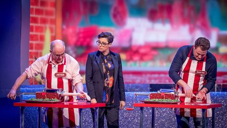 Pete and David Willey with Sue Perkins, on The Generation Game. Picture: BBC/GUY LEVY