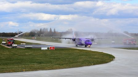 The water arch salute for the start of flights between London Southend Airport and Antwerp. Picture