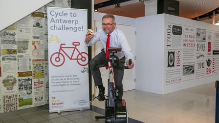 Jon Horne of London Southend Airport takes on the Cycle to Antwerp Challenge. Picture: Ruth Knight