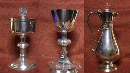 (L-R) Large ciborium with cross embellished lid, Large decorated chalice sterling silver with gildin