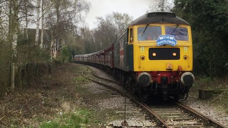 """The Charity Railtours' """"Mayflower"""" train leaving Leiston. Picture: RON GEATER"""