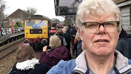 Paul Geater at Saxmundham station during a short stop after the train had visited the Leiston branch
