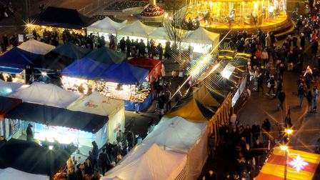 The packed Bury St Edmunds Christmas Fayre has become a popular part of the town's calendar. Pictu