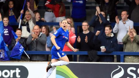 Super Fran Kirby scoring in Chelsea's tie with Manchester City this weekend. Picture: ADAM DAVY/PA W