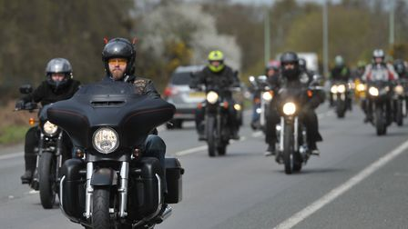 Hundreds of bikers formed a cortage in memory of Tina Rose. Picture: SARAH LUCY BROWN