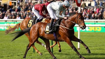 Mildenberger on the way to victory in the bet365 Feilden Stakes at Newmarket. Picture: PA SPORT