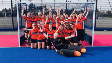 The Ipswich East Suffolk Hockey Club ladies celebrate promotion. Picture: PETER ELSOM