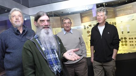 Metal detectorists Terry Marsh, Alan Smith, Roy Damant and Robert Atfield at an exhibition of items