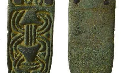 A complete cast copper-alloy early medieval strap setting, dating to the late 9th or early 10th Cent